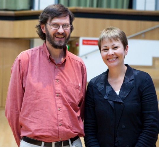 Graham Wroe with Caroline Lucas MP, leader of the Green Party