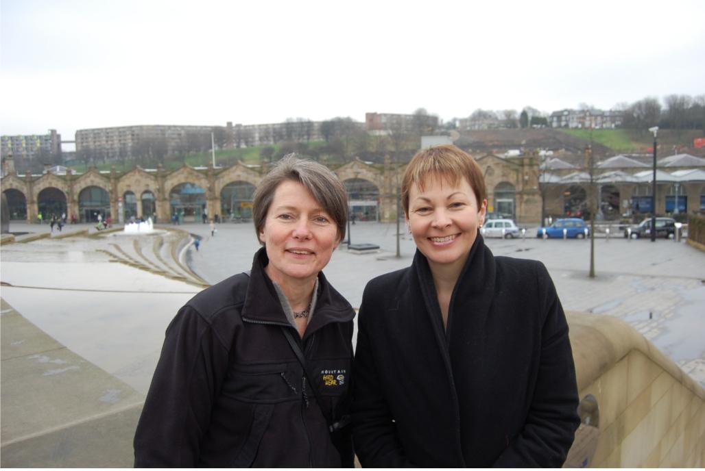 Jillian Creasy and Caroline Lucas Sheffield station