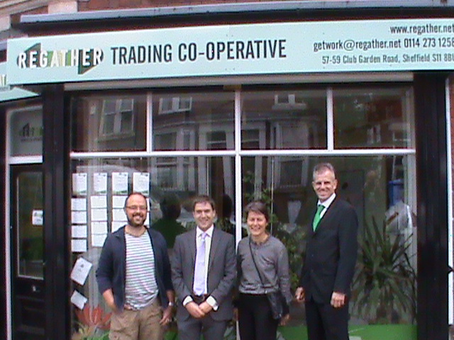 Adrian Ramsay visits the Regather Cooperative in Sharrow. Pictured: Gareth Roberts, and Councillors  Adrian Ramsay, Jillian Creasy and Rob Murphy