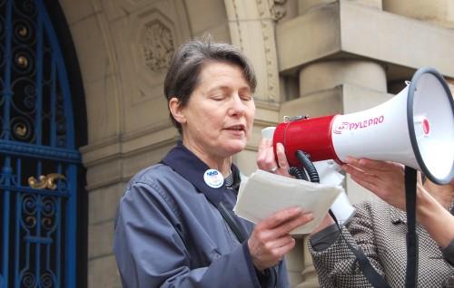 Cllr Jillian Creasy with a megaphone