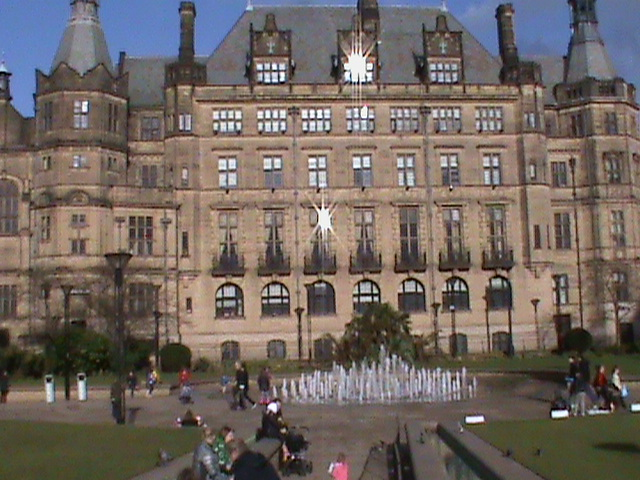 town hall and peace gardens fountain