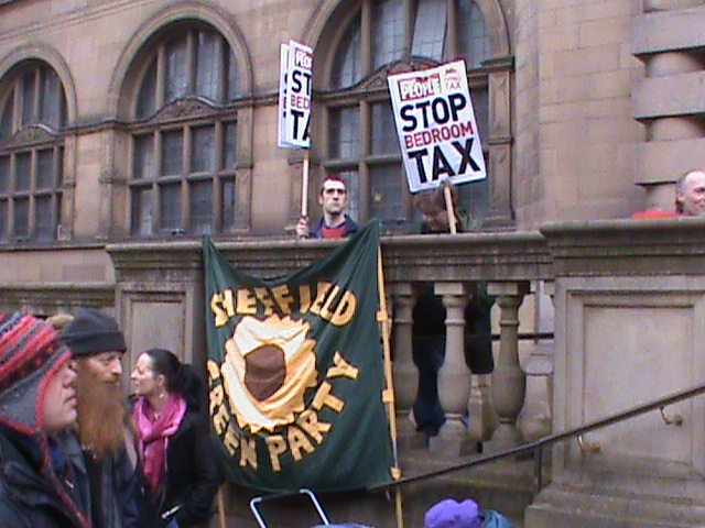 16 March 2013 Bedroom Tax demo Green Party banner
