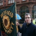 Brian Webster with Green Party banner Education Rally June 2013