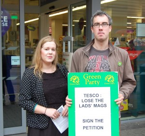 Sheffield Greens, Amy Mack and Brian Webster, join the demo against shops stocking sexist magazines.