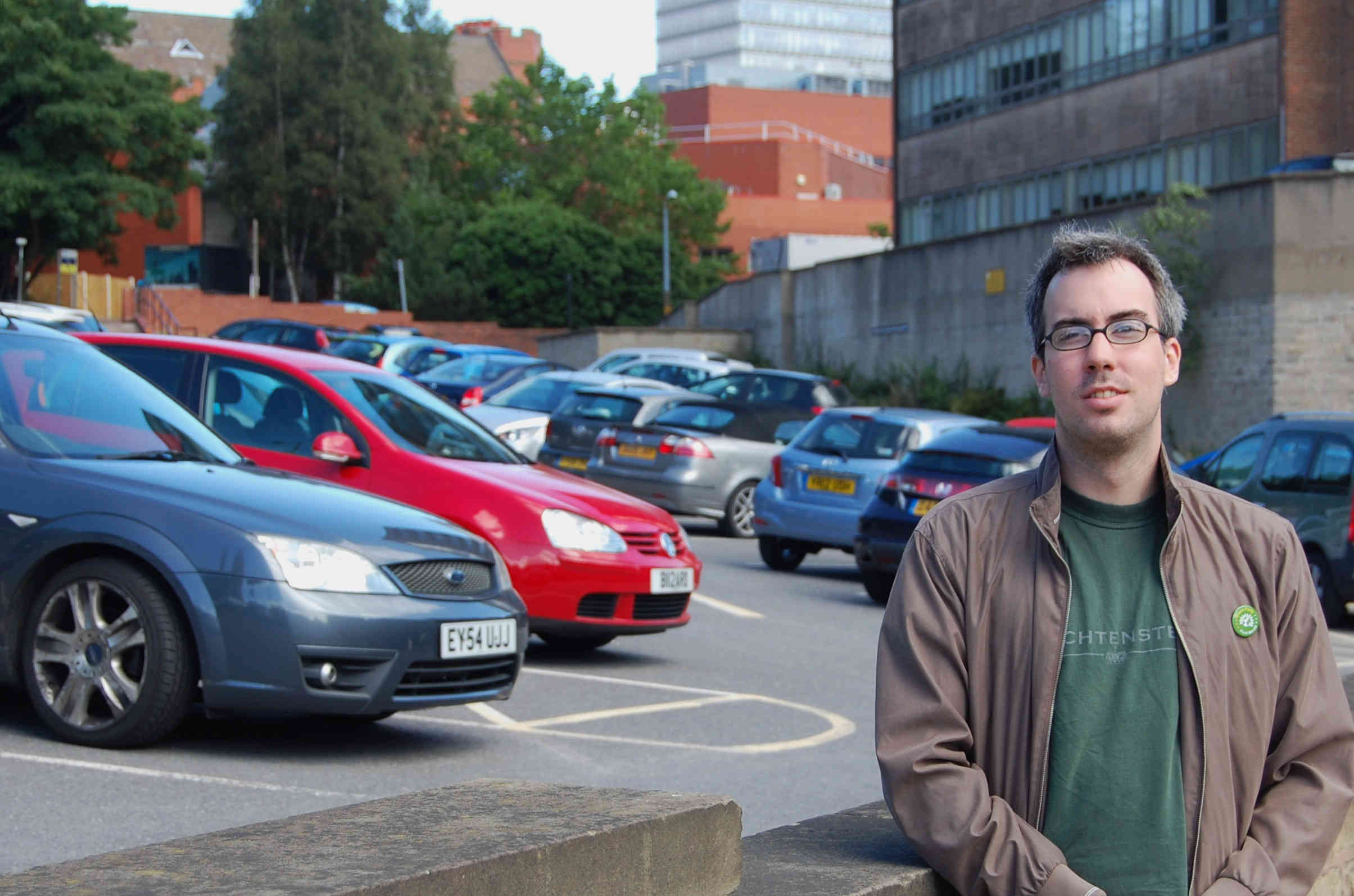 Brian Webster at the site of the proposed University car park