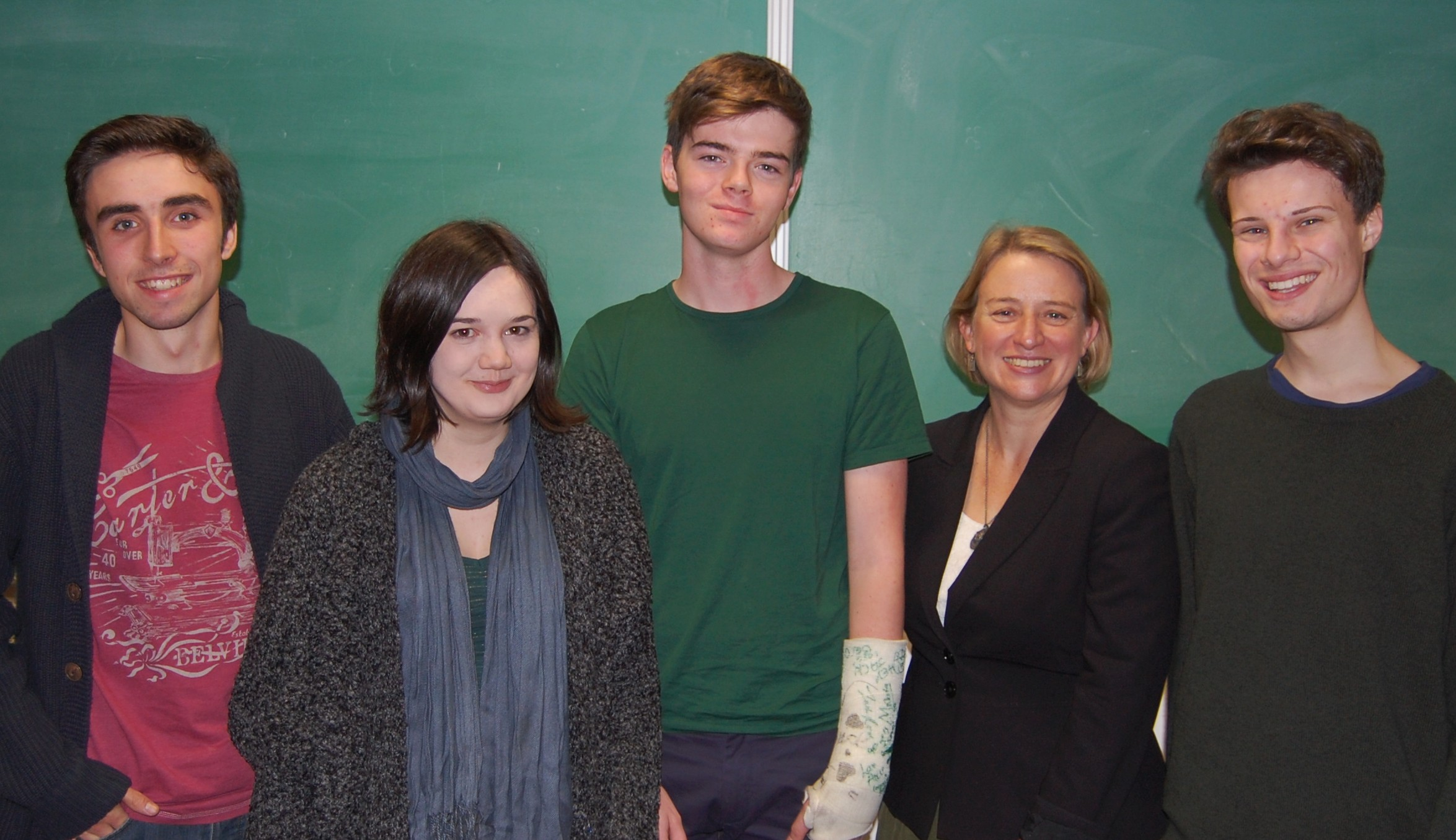 Natalie Bennett (2nd from right) with Green Party members/supporters