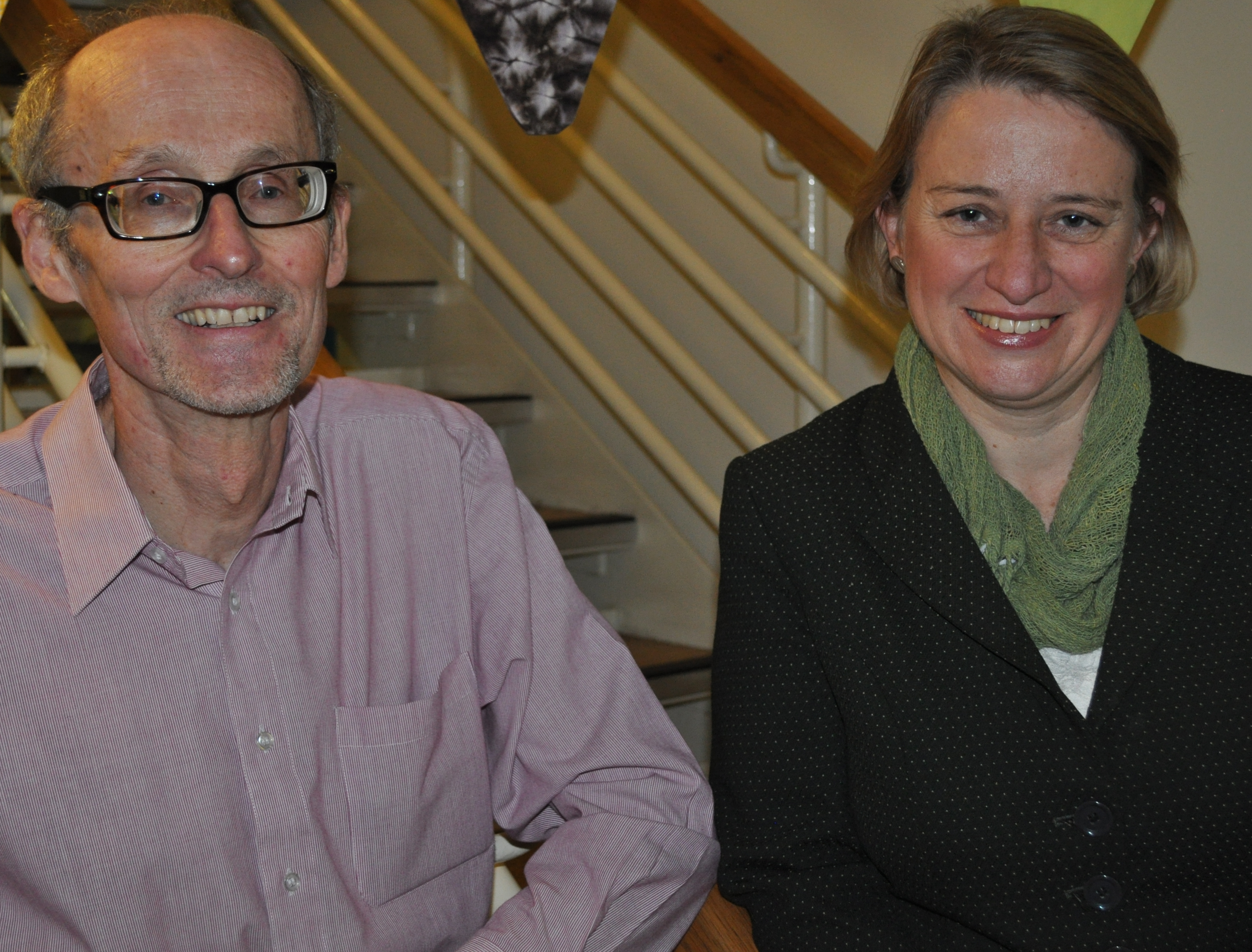 Jon Ashe, Chair of Sheffield Greens, with Natalie Bennett, Leader of Green Party