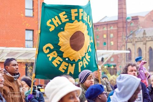 SGP banner at Immigration Bill demo