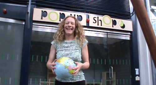 Sarah Jane Smalley outside the Pop Up Shop in the Winter Gardens