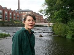 Cllr Jillian Creasy standing in the River Don