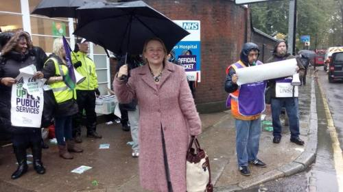 Natalie Bennett at the St Pancras NHS picket line