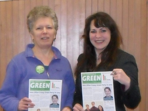 Rita Wilcock, Parliamentary Candidate for Heeley, with Amelia Womack, Green Party Deputy Leader
