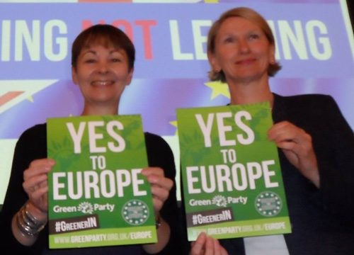Cllr Alison Teal with Caroline Lucas at the EU Leading not Leaving event