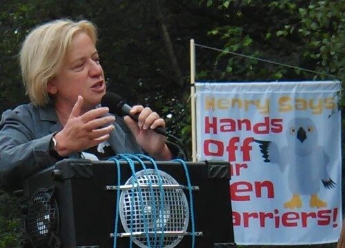 Natalie Bennett at Hen Harrier Day in Edale