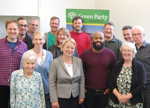 Natalie Bennett with members of Sheffield Green Party