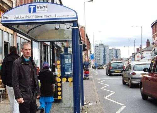 Rob Murphy at a bus stop on London Road