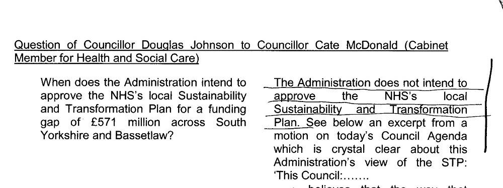 Question of Cllr Douglas Johnson and reply of Cllr Cate McDonald