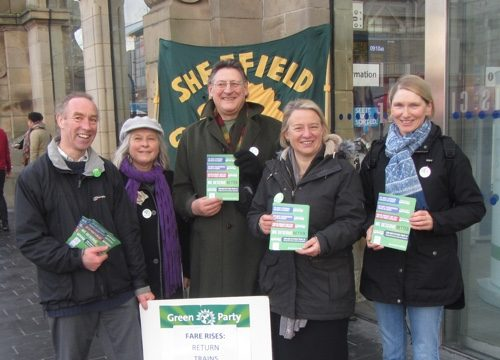 Green Party campaigners at Sheffield railway station