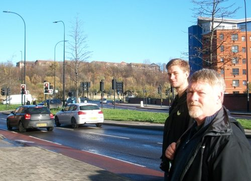 Sheffield Green Party members Martin Phipps and Brian Holmshaw by the ring road